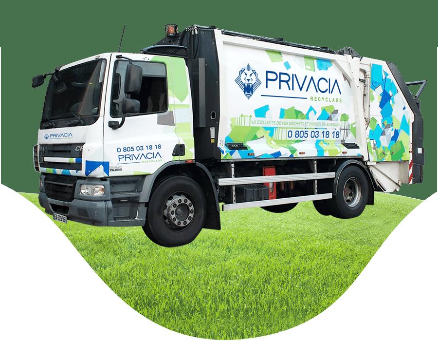 Camion de recyclage Privacia - collecte et recyclage des déchets